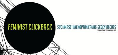 Logo der Initiative Feministclickback in einem schwarzen Kreis, daneben der Schriftzug Suchmaschinenoptimierung gegen rechts