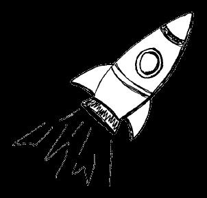 Eine mit wenigen Strichen gezeichnete Rakete
