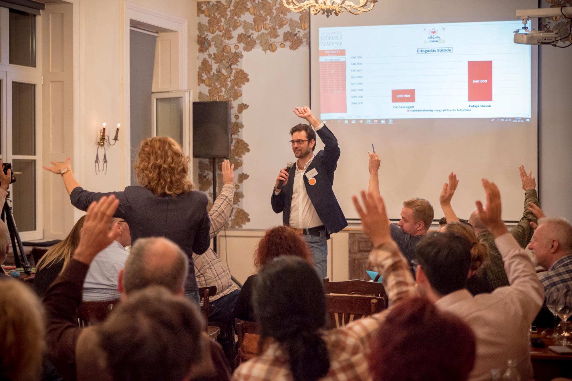 Ein Mann mit Mikrofon steht vor mehreren Menschen, die per Handzeichen über etwas abstimmen.