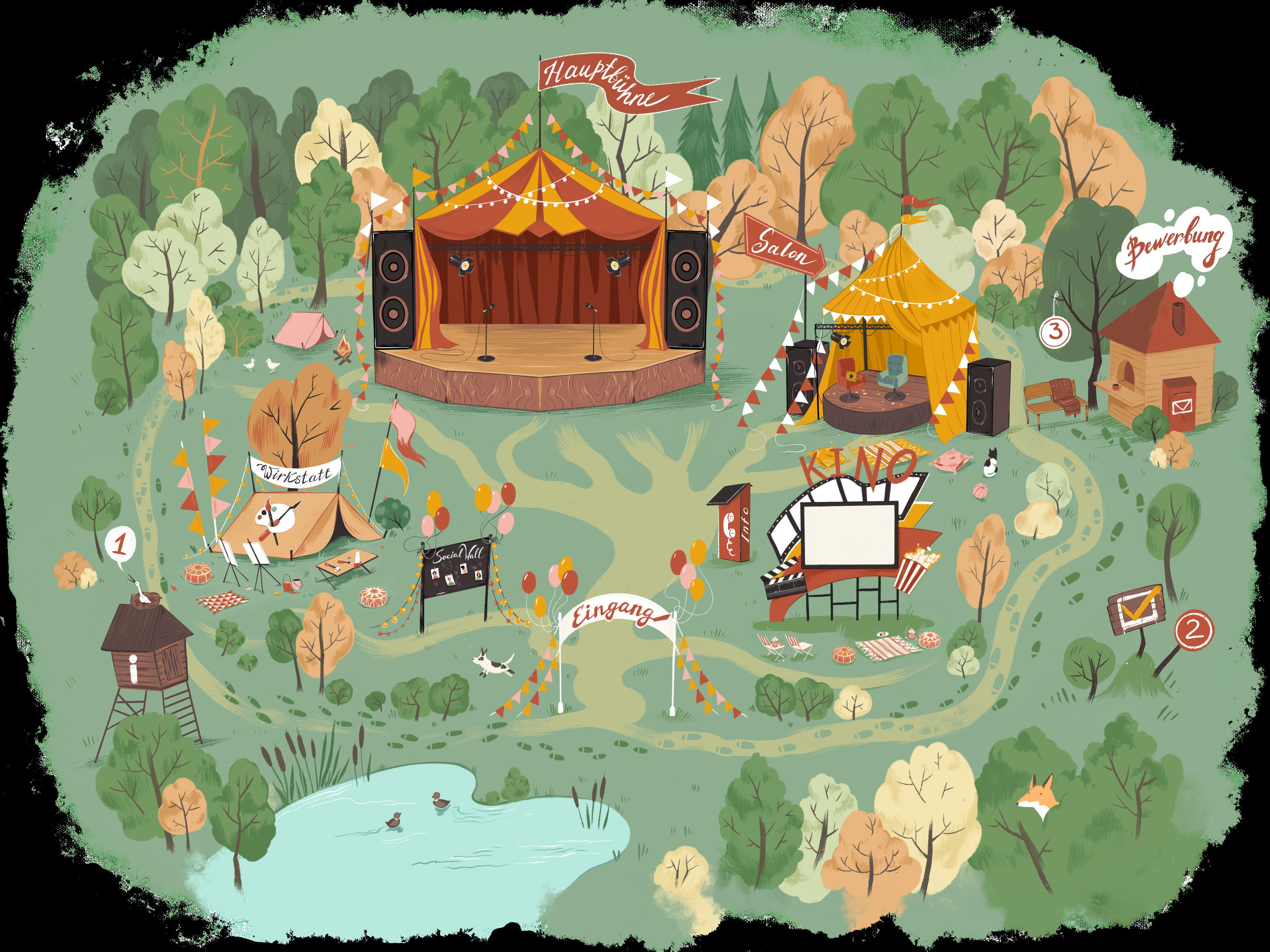 Gemaltes Festivalgelände