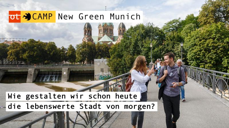 Eine Gruppe Menschen geht über eine Brücke. Schriftzug: New Green Munich